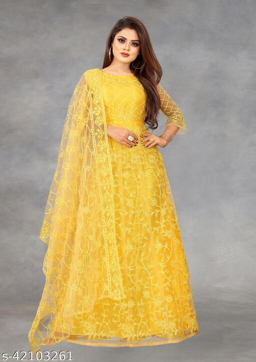 Net Embroidered Semi-Stitched Gown (Yellow_Free Size)