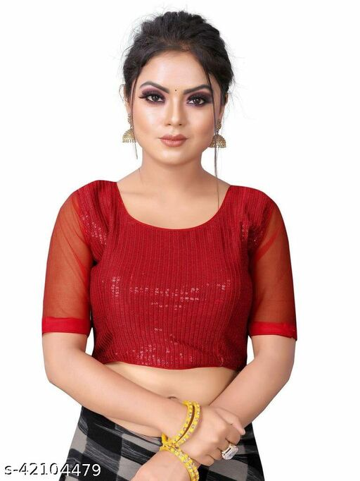 Amrutam Fashion Designer Studio Designer Silk Red Color Embroidery Ready made Blouse Piece