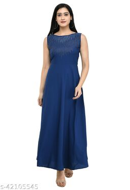 NOBEY Women's Solid Crepe Round Neck Fit And Flare Maxi Dress