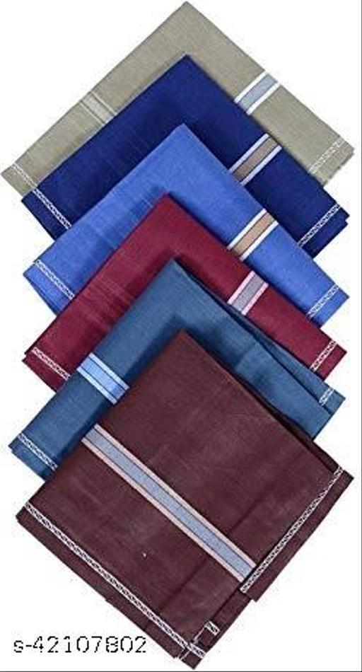 Daily Use Men's Premium Cotton Handkerchief Dark Color Lining Border Pack of 6