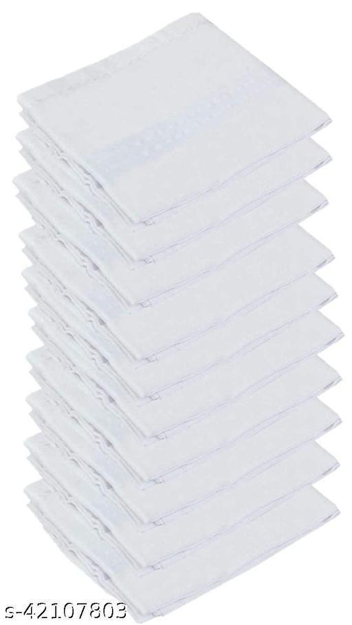 Daily Use Men's Premium Cotton Handkerchief White Plain Pack of 6