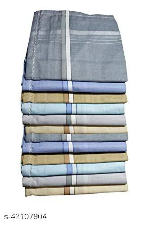 Daily Use Men's Premium Cotton Handkerchief Light Color Lining Border Pack of 12