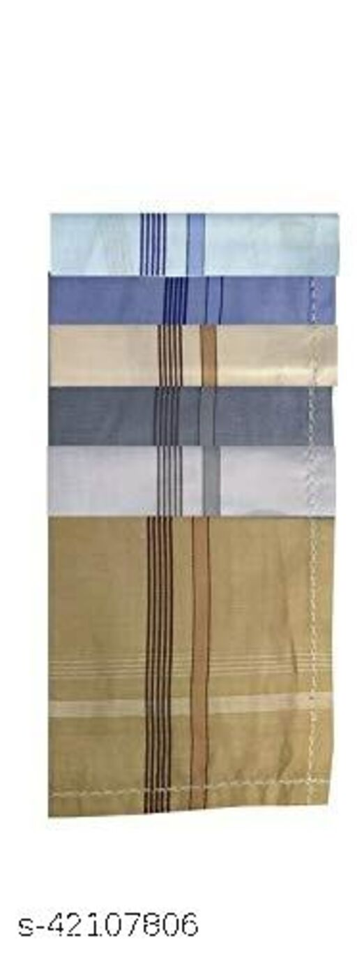Daily Use Men's Premium Cotton Handkerchief Light Color Lining Border Pack of 6