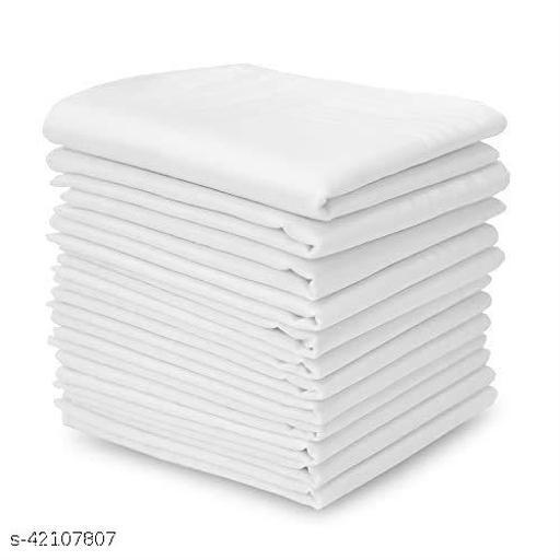 Daily Use Men's Premium Cotton Handkerchief White Plain Pack of 12