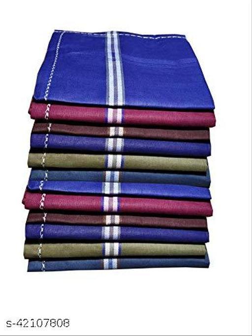 Daily Use Men's Premium Cotton Handkerchief Dark Color Lining Border Pack of 12