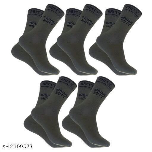 PinKit Men's 5 Pairs Combo Organic Cotton Indian Army Full Length Gents Socks