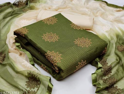 NITYAPAL Women's Cotton Un-Stitched Dress Material (Green)