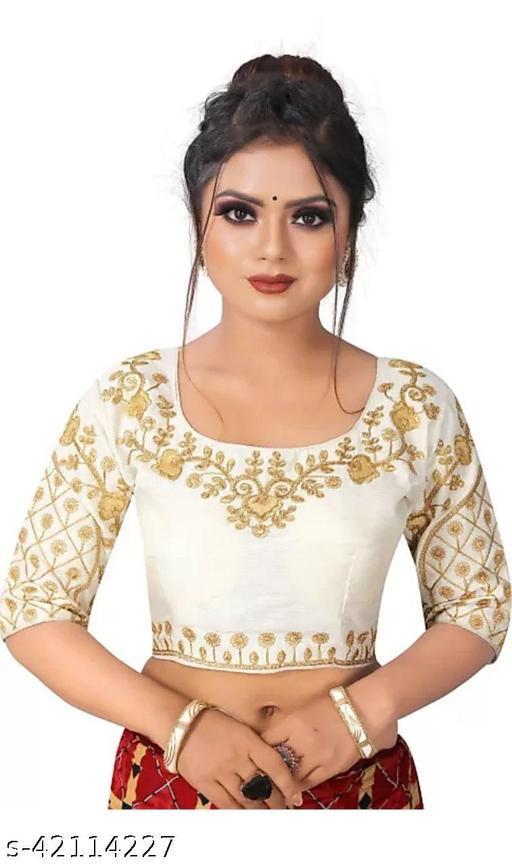 Amrutam Fashion Designer Studio Designer Silk White Color Embroidery Ready made Blouse Piece