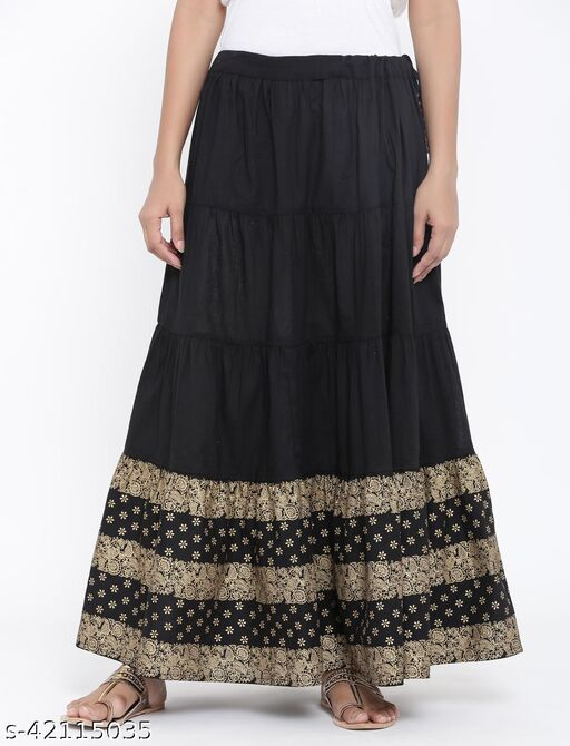 Rangmayee Women Black & Gold Printed Maxi Flared Skirt