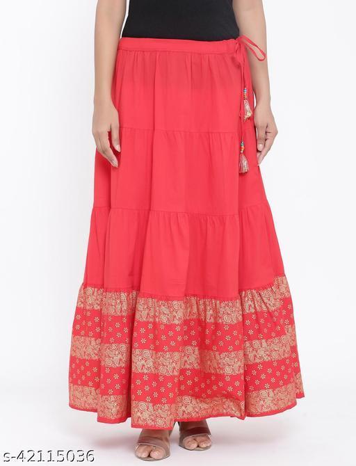 Rangmayee Women Red Gold Print Maxi Flared Skirt