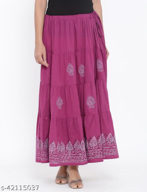 Rangmayee Women Purple Paisley Print Maxi Flared Skirt