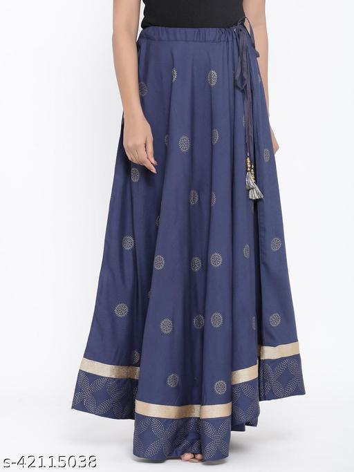 Rangmayee Women Navy Gold Print Maxi Flared Skirt