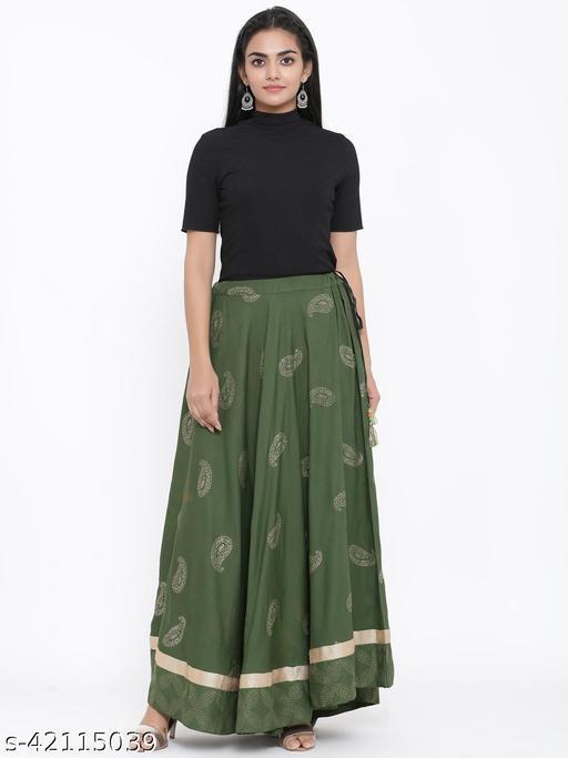 Rangmayee Women Green Gold Print Maxi Flared Skirt