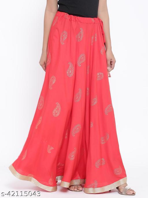 Rangmayee Women Red Paisley Print Maxi Flared Skirt