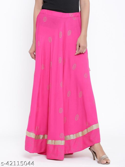 Rangmayee Women Pink Gold Print Maxi Flared Skirt
