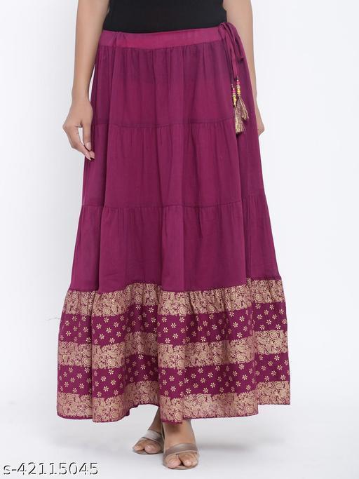 Rangmayee Women Purple Gold Print Maxi Flared Skirt