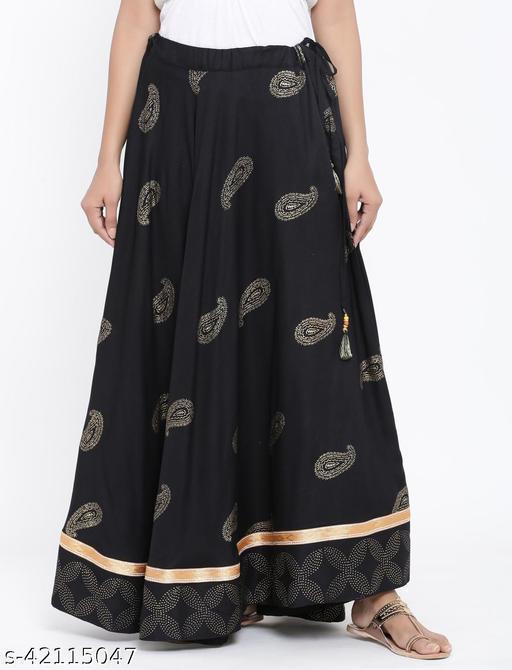 Rangmayee Women Black Paisley Print Maxi Flared Skirt