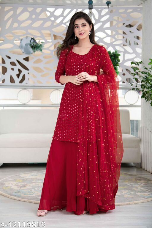 Yashruti Fashion Embroidery Georgette Fabric Kurta with Palazzo and Dupatta Semi Stitched.
