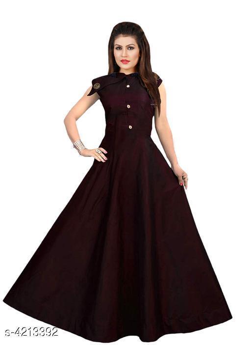 Women's Solid Maroon Silk Dress