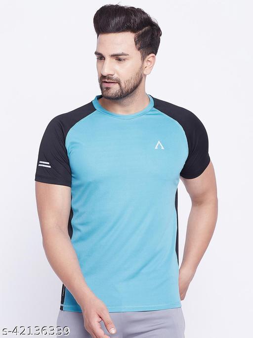 Austivo Men's Teal Round Neck Active Fastdry T-shirt