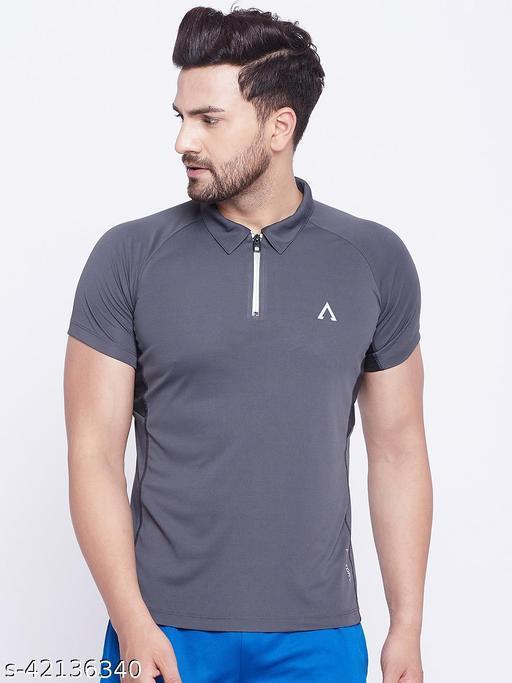 Austivo Men's Grey Polo Collar Active Fast dry T-shirt