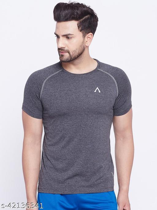 Austin Wood Men's Grey Round Neck Active Fastdry T-shirt