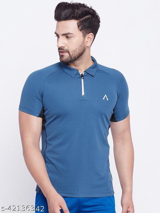 Austivo Men's Blue Polo Collar Active Fastdry T-shirt