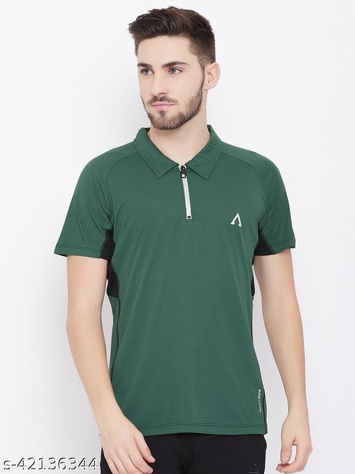 Austivo Men's Olive Polo Collar Active Fastdry T-shirt