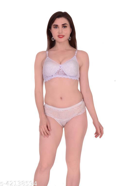 Women Self-Design Grey Hosiery Lingerie Set