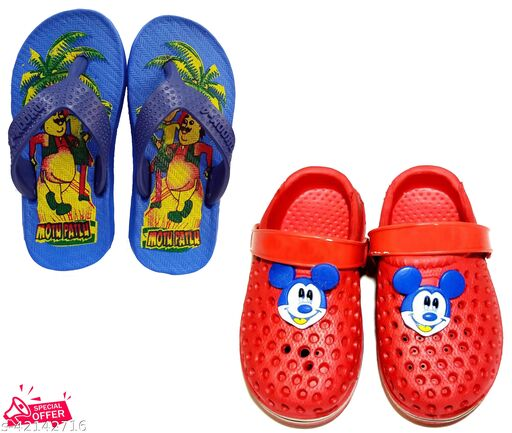 Combo Kids Blue Slippers And Red Clogs (Pack Of 2 Pair)