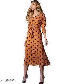 Printed Orange Calf-Length Polycotton Dress