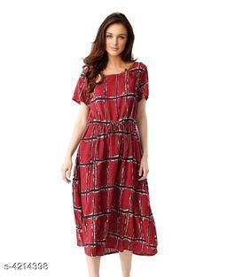 Checked Maroon Calf-Length Polycotton Dress