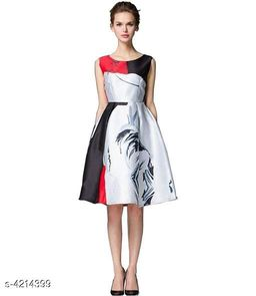 Printed Grey Knee length Polycotton Dress