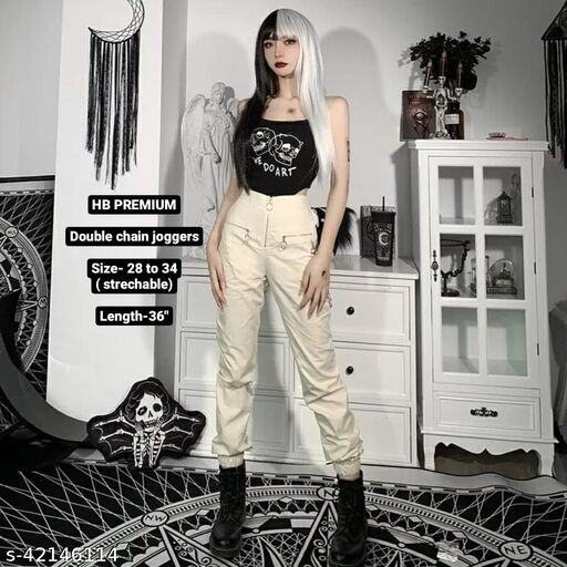 Double chain joggers by High-Buy- strechable ( 28-34 waist)-beige jeggings