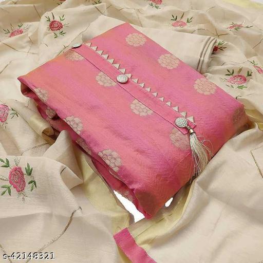TOZRI Chanderi Pink Cotton Woven Salwar Suit & Dress Materials