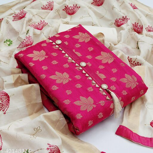 TOZRI Chanderi Rani Cotton Woven Salwar Suit & Dress Materials