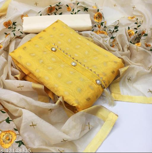 TOZRI Chanderi Yellow Cotton Woven Salwar Suit & Dress Materials