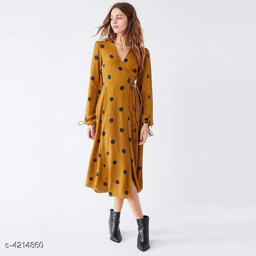 Printed Mustard Calf-Length Polycotton Dress
