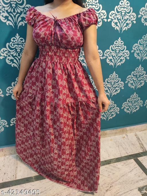 Cotton Single Piece Dress For Regular Wear