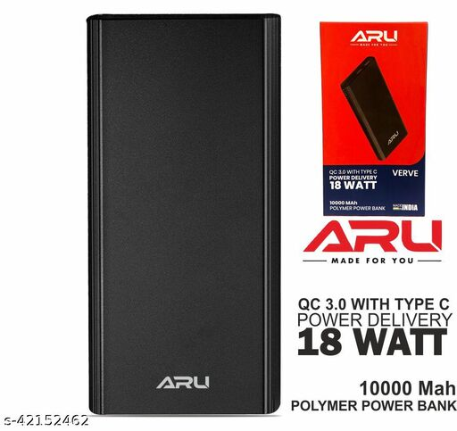 ARU Power Bank 10000 mah with 18w fast charging with micro usb cable mi power bank realme power bank potronics power bank syska power bank