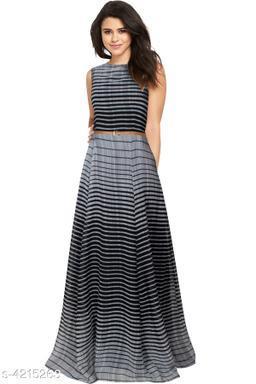 Striped Multicolor Maxi Georgette Dress
