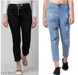 Flying Trendy Joggers Fit Women Denim Classy Jeans For Girls ( Pack Of 2 )