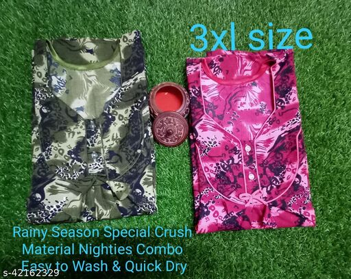 Crush Polyster Easy to wash & Dry Nighties Combo With Side Pocket