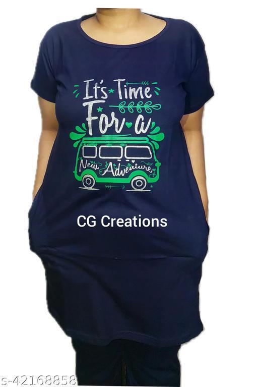 "CG Creations Girls/Women Knee Length Long Tshirt/Top With 2 Deep Pockets - XXXL"""