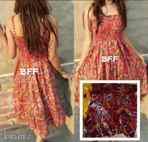 Western Stylish Printed Midi Dress for Women