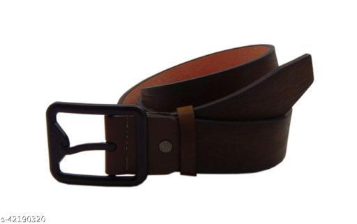 ELS Men's Artificial Leather Casual, Formal Belt, (Khaki)