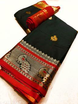 Mayurakshi Paithani Cotton Silk Sarees With Contrast Blouse Piece (Black 2 & Red)