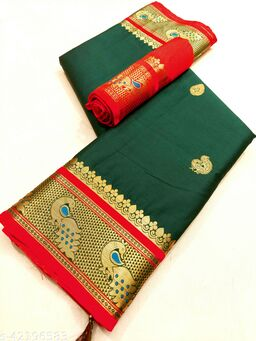 Mayurakshi Paithani Cotton Silk Sarees With Contrast Blouse Piece (Bottle Green & Red)