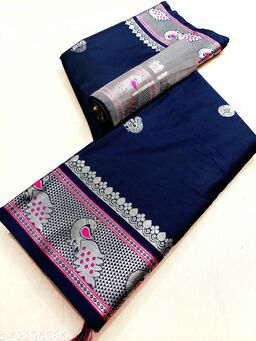 Mayurakshi Paithani Cotton Silk Sarees With Contrast Blouse Piece (Navy & Silver)