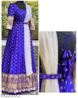 Unique Royal Blue Colored Party Wear Woven Tapetta Silk Gown